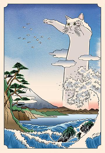 Japanese Ukiyo-e style illustration of Longcat